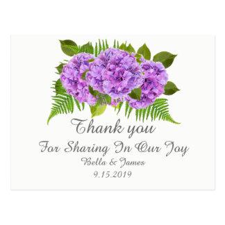 Postal El boda púrpura moderno del Hydrangea le agradece