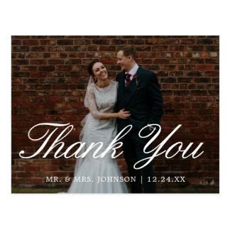 Postal El boda simple elegante de la escritura le