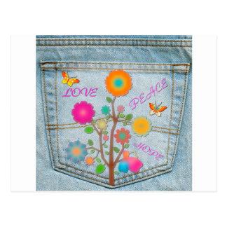 Postal El bolsillo trasero del dril de algodón florece