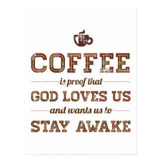 Postal El café es prueba que dios nos ama