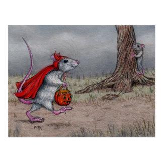 Postal El caminar de Halloween del diablo de la rata