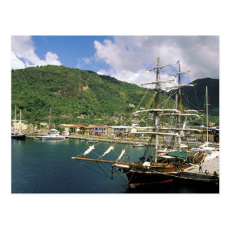 Postal El Caribe, St Lucia, Soufriere. Barcos adentro