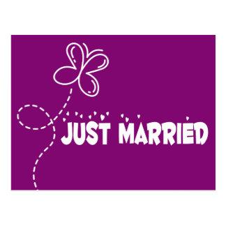 Postal El casarse casado apenas de la mariposa y de los