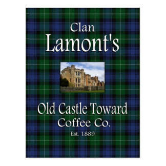 Postal El castillo viejo de Lamont del clan hacia el café