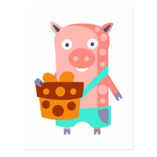 Postal El cerdo con el fiesta atribuye enrrollado