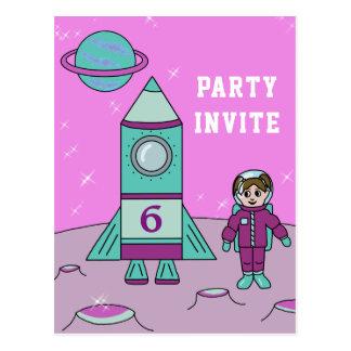 Postal El chica del astronauta en fiesta de cumpleaños