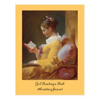 Postal El chica francés del lector en vestido amarillo