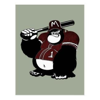 Postal El club de béisbol del gorila