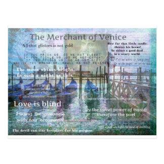 Postal El comerciante de las citas de Venecia Shakespeare