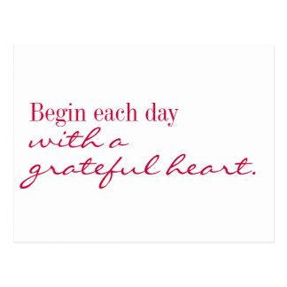 Postal - el corazón agradecido inspira y anima