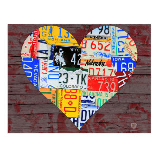 Postal El corazón de América recicló arte de la placa