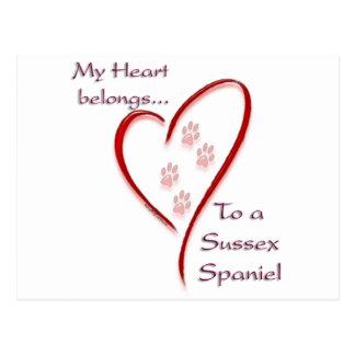 Postal El corazón del perro de aguas de Sussex pertenece