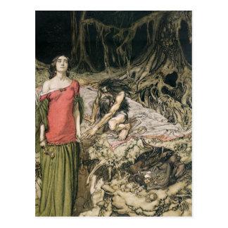 Postal El cortejar de Grimhilde, la madre de Hagen