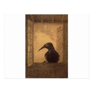 Postal El cuervo de Odilon Redon