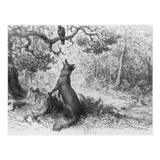 Postal El cuervo y el Fox