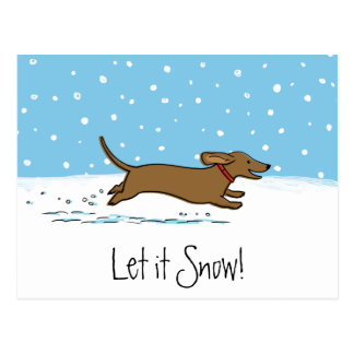 Postal El Dachshund lo dejó nevar - perro feliz de la