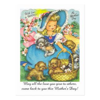 Postal El día de la mamá adorable del vintage