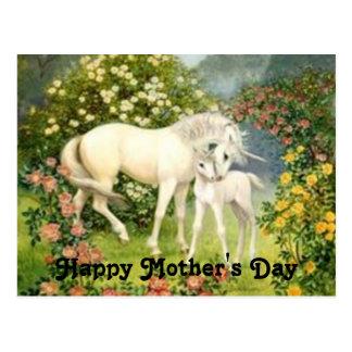 Postal El día de madre de los unicornios del vintage