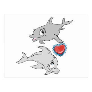 Postal El día de San Valentín del delfín