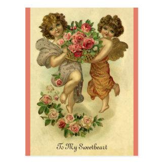 Postal El día de San Valentín del Victorian del vintage,