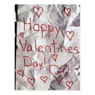 Postal El día de San Valentín feliz, rasgado y grabado