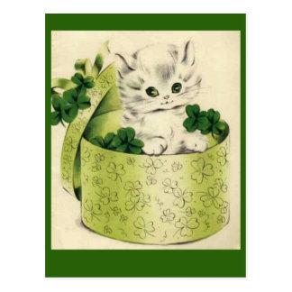 Postal El día retro de San Patricio del gatito del