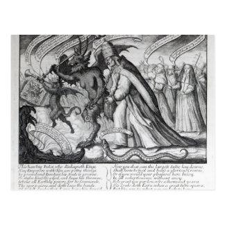 Postal El diablo que lleva al papa en cadenas, 1680