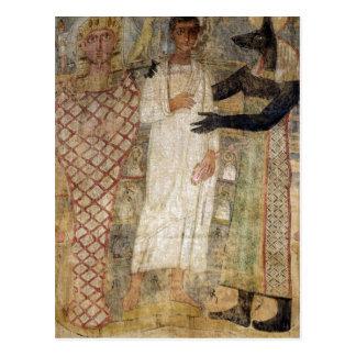 Postal El difunto y su momia protegidos por Anubis