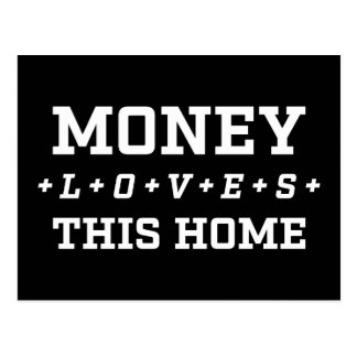 Postal El dinero ama esta afirmación casera de la