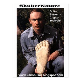 Postal El Dr. Karl Shuker y la impresión de Bigfoot