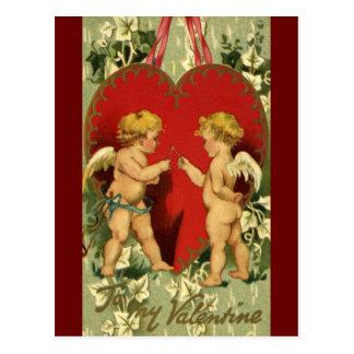 Postal El el día de San Valentín del vintage, querubes