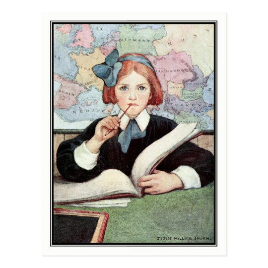 Postal El escolar de Jessie Willcox Smith