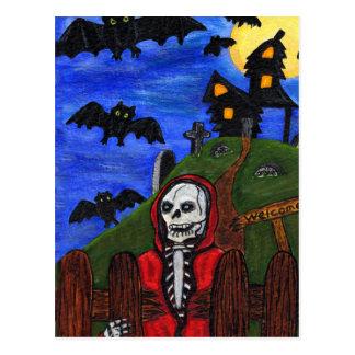 Postal El esqueleto del parca golpea el cementerio