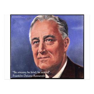 "Postal El FDR (Roosevelt) ""sea breves"" regalos de la cita"