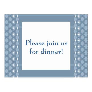 Postal El fiesta de cena azul del diamante doble retro