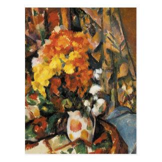 Postal El florero florecido de Paul Cezanne