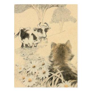 Postal El gatito y la vaca