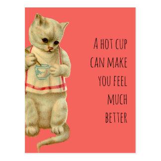 Postal El gato con una taza caliente puede hacer que