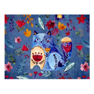 Postal El gato fresco en jardín de flores