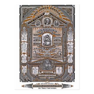 Postal El grabado del vintage de Prayer del señor