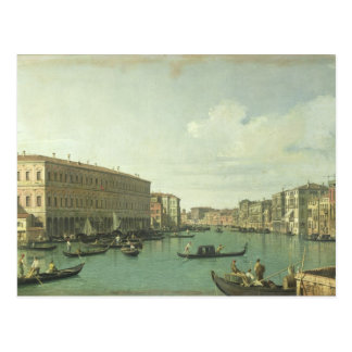 Postal El Gran Canal del puente de Rialto