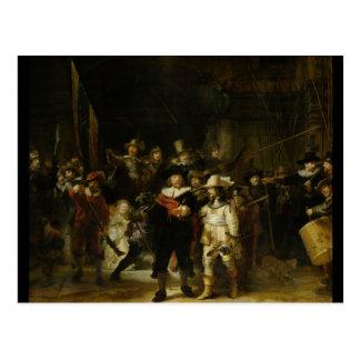 Postal El guardia nocturna, Rembrandt Van Rijn