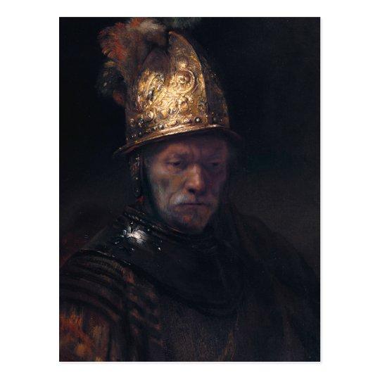 Postal El hombre de Rembrandt en un casco de oro