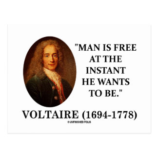 Postal El hombre de Voltaire está libre en instante que