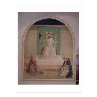 Postal El imitar de Cristo con la Virgen y el St. Domi
