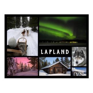 Postal El invierno de Laponia ajardina el collage negro