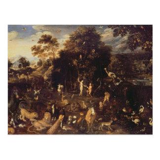 Postal El jardín de Eden