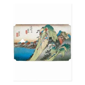 Postal El lago en Hakone, Japón circa 1831 - 1834