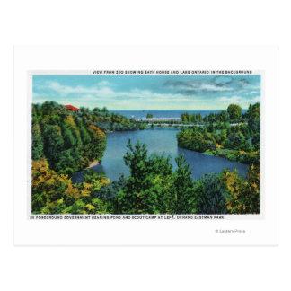 Postal El lago Ontario y parque de Durand Eastman