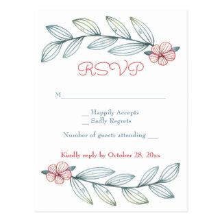 Postal El laurel floral del gris azul de RSVP sale de las